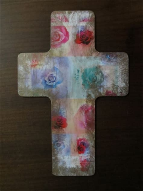 Decoupage Cross - decoupaged easter cross favecrafts