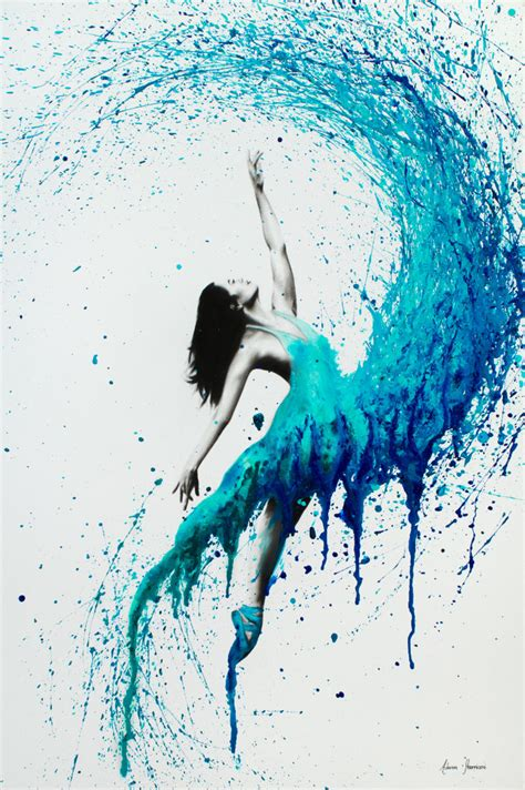 blue and white dance painting by georgeta blanaru in the waves ashvin harrison