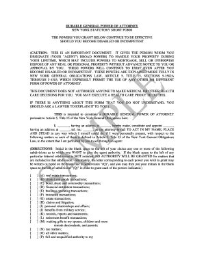 Durable General Power Of Attorney Forms And Templates Fillable Printable Sles For Pdf Power Of Attorney Template Ny