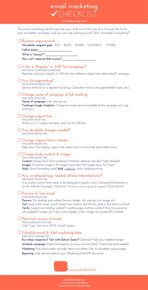 email checklist template email marketing checklist sheet free