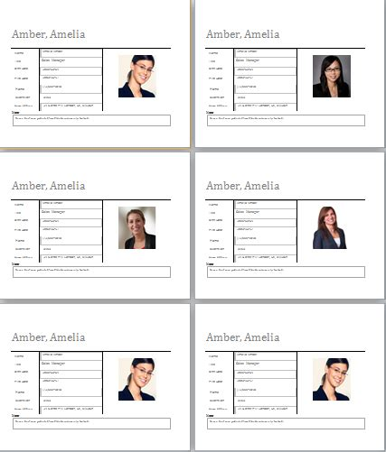 Employee Profile Template   Free Word Templates