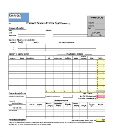 business expenses form template excel report template 5 free excel document downloads