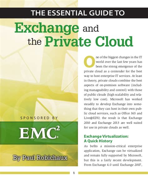 the essential guide to white paper the essential guide to exchange and the private cloud