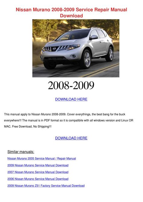 service manual free download to repair a 2009 ford f series super duty ford 2005 f250 owners nissan murano 2008 2009 service repair manual by lieselotte mohlke issuu