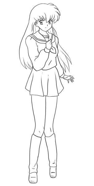 pictures girl coloring schoolgirl inuyasha the final act coloring pages inuyasha