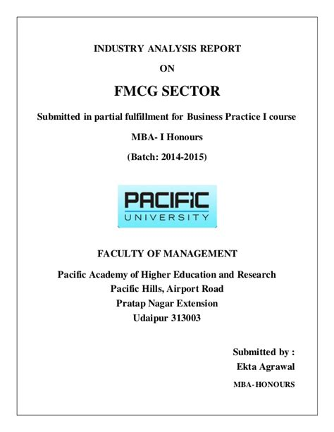In Fmcg Sector For Mba industrial report on fmcg industry