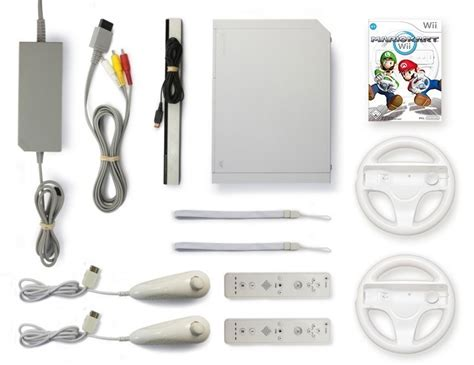 nintendo wii console white incl wii console white incl mario kart 2 remotes 2