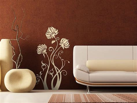 modern wall decals for living room vintage style wall stickers flower in modern living room interior design ideas