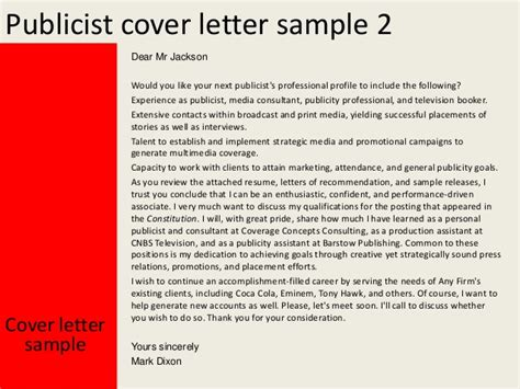 Cover Letter For Publicity Position by Publicist Cover Letter