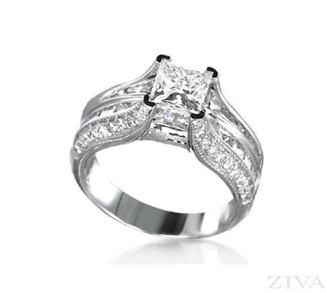 Cathedral Princess Cut Ring Setting with Princess Cut