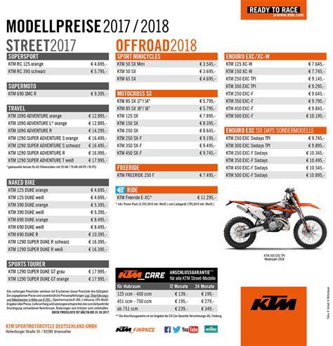 Ktm Motorrad Preisliste 2018 by Ktm Motorrad Preisliste 2017 Motorrad Bild Idee
