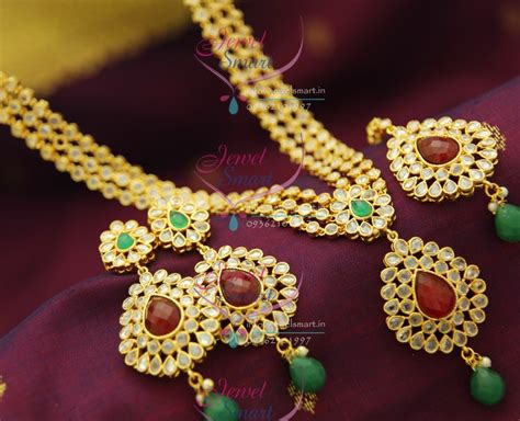 NL2055 Bollywood Model Jewellery 3 Step Polki Necklace