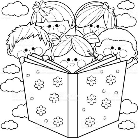 read colored children reading a book coloring book page stock vector