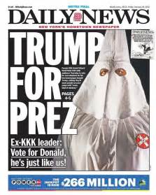 new york daily news front page hypes donald s kkk