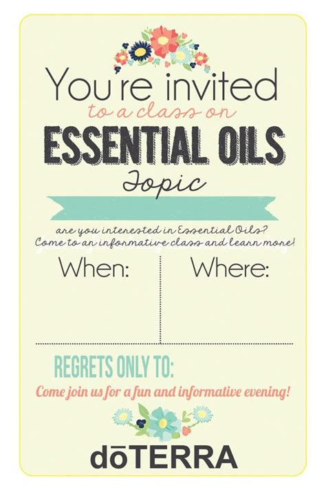 4x6 Doterra Class Invitation Instant Download By Mabelstreet 12 00 Briannanicole07 Doterra Invite Template
