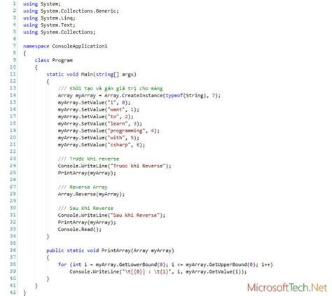 pattern programs in c using array reverse array method in c programming