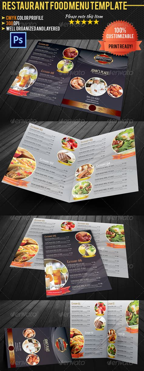 bi fold menu template free and premium food and restaurant menu brochure