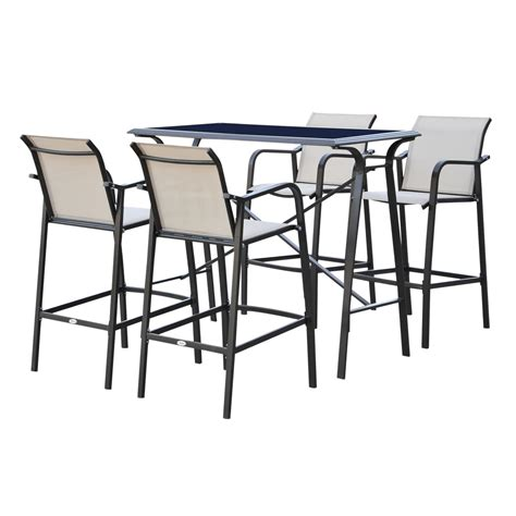 Outsunny 5 Piece Outdoor Patio Sling Bar Dining Set