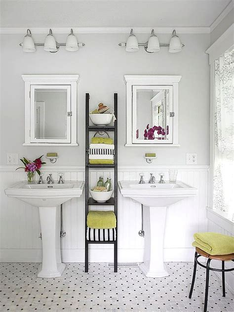 Bathroom Ladder Storage Saving Space Becomes With Vertical Storage