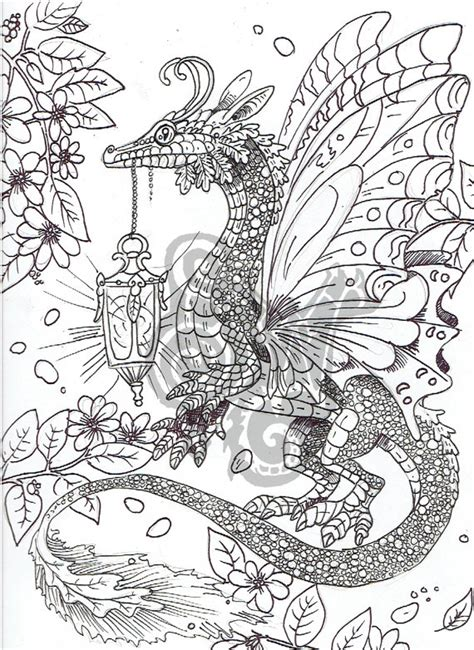 digital coloring page dragon in the garden