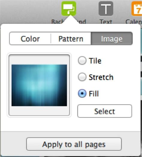 trendy add photos with mac pages background color