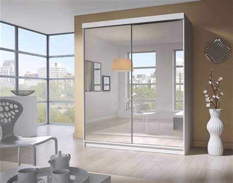 Mirrored Sliding Door Wardrobe by Pacific White 2 Door Medium Sliding Mirrored Wardrobe