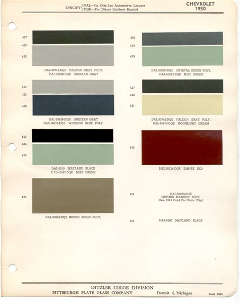 chevy truck paint color chart