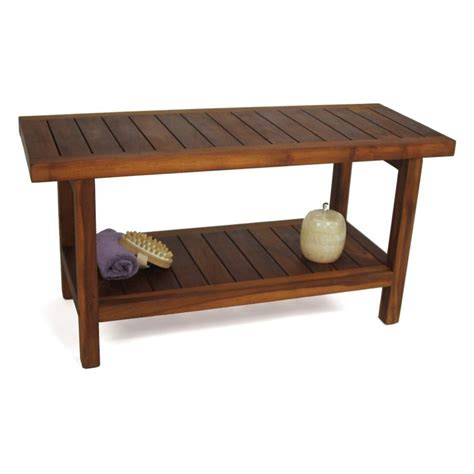 Spa Teak Shower Bench With Shelf by Aqua Teak Spa Bench With Shelf 36 In Wide Shower Seats