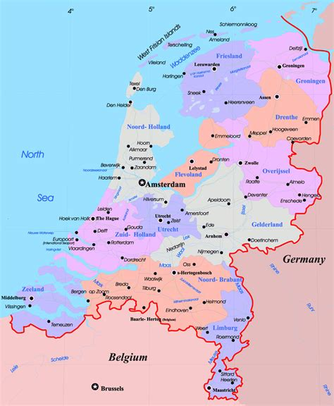 netherlands map and cities large administrative map of netherlands with major cities