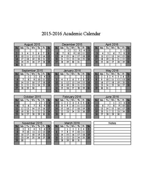 Academic Calendar 2015 2016 2015 2016 Academic Calendar Free