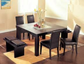 Contemporary wenge wood middle frosted glass dining table set dining