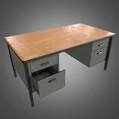 3d Model Metal Office Desk Pbr Game Ready Vr Ar Low Office Desk Metal