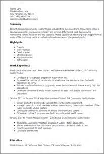 Community Health Sle Resume by Professional Community Health Worker Templates To Showcase Your Talent Myperfectresume