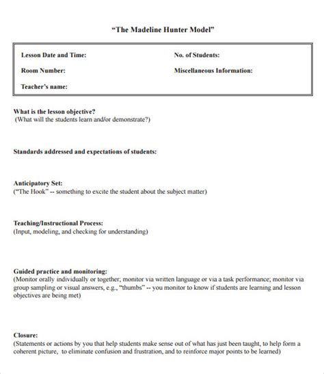 12 Sle Madeline Hunter Lesson Plans Sle Templates Madeline Lesson Plan Template