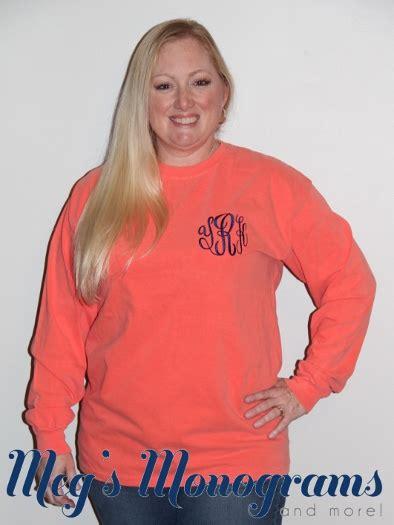 bright salmon comfort colors sleeves monogrammed comfort colors tshirt