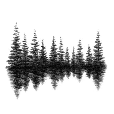 forest silhouette tattoo evergreen tree line silhouette embroidery