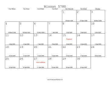 nissan  calendar  gregorian equivalents
