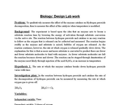 design lab ib biology design lab on enzyme activity international