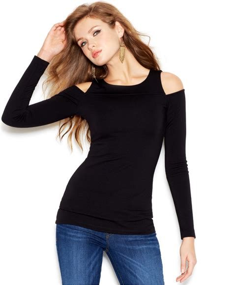 Shoulder Sleeve Top lyst guess sleeve shoulder cutout top in black