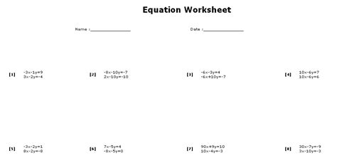 System Of Equations Worksheets by Equation Worksheet Maker Systems Sle
