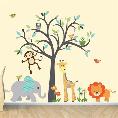 safari wall decal nursery wall decal jungle animal wall decal monkey decal modern boy design