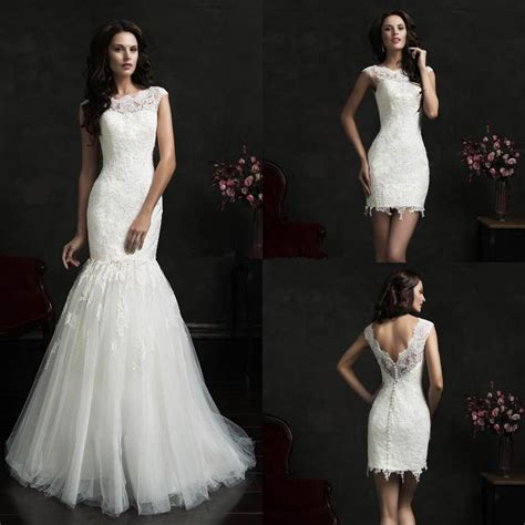 Dress Se mermaid detachable skirt wedding dress lace cap sleeves 2015 high collar vintage