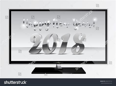 new year tv 2018 silver chrome numbers design ont stock vector
