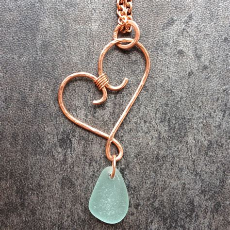 hammered copper wire wrapped jewelry wire wrapped forged hammered copper pendant with