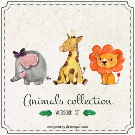 watercolor lovely giraffe with other animals vector free