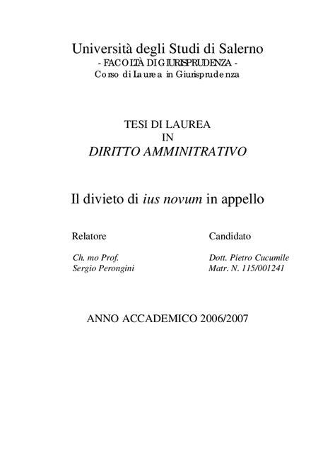 eccezioni rilevabili d ufficio divieto di ius novum in appello tesi di laurea
