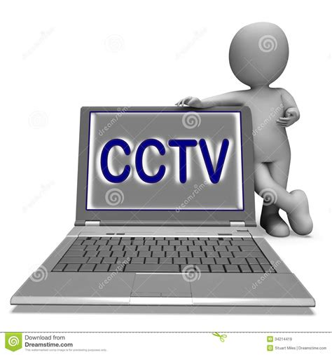 Cctv Laptop cctv laptop shows surveillance protection or monitoring royalty free stock images image
