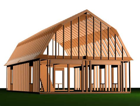 gambrel pole barn plans 24 x 24 pole building rafter roof loft joy studio design