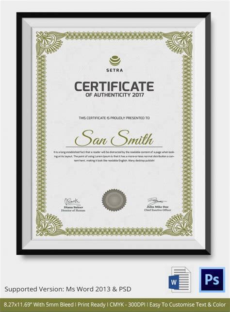 certificate design templates psd free sle certificate of authenticity template 36