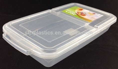 large flat storage containers clear plastic hinged flat box food container